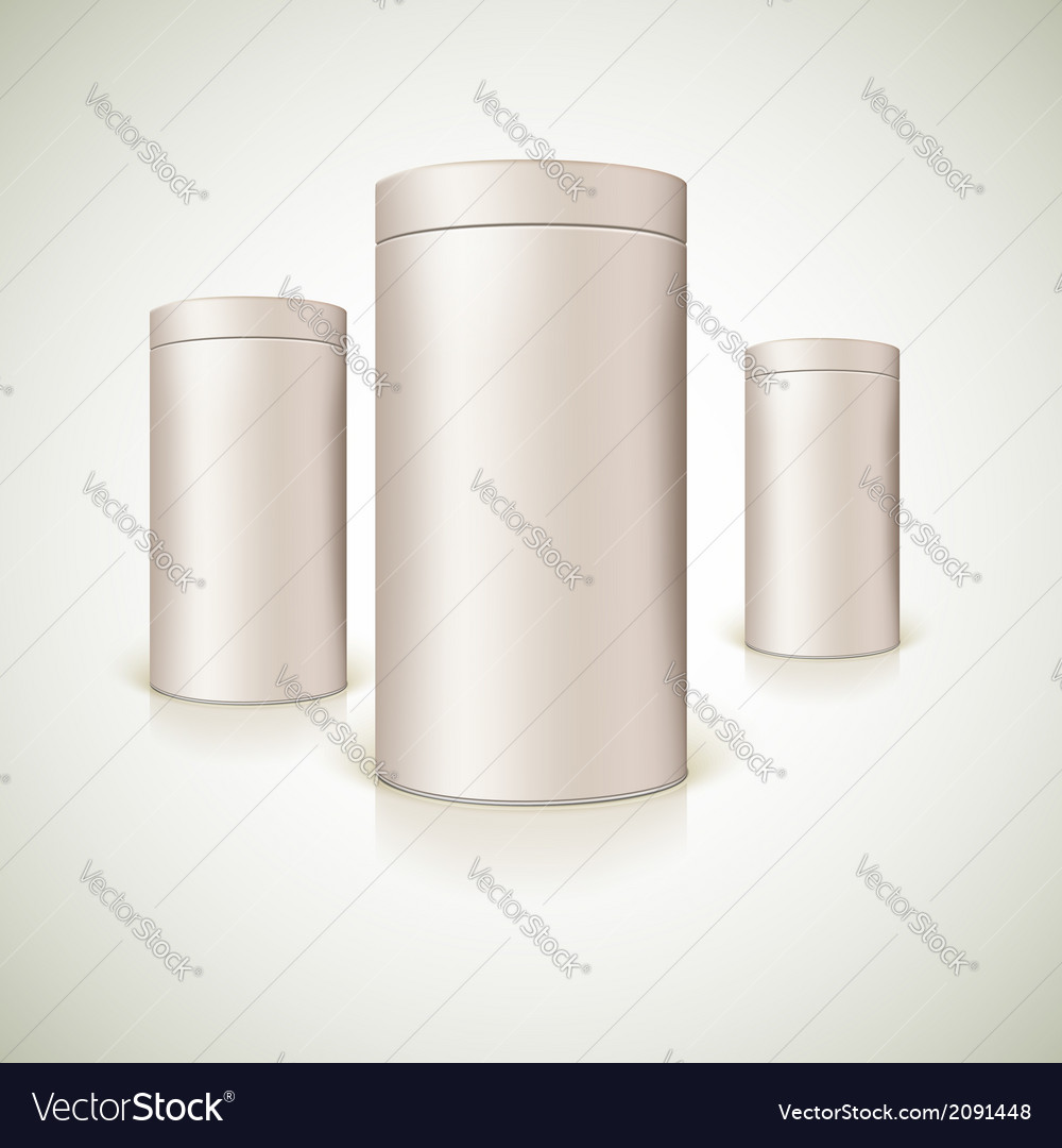 Set of round tins packaging vector