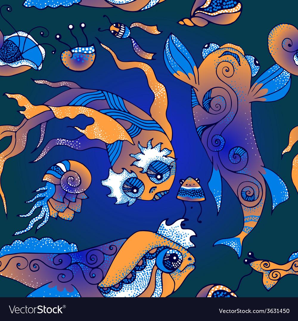 Marine life pattern vector