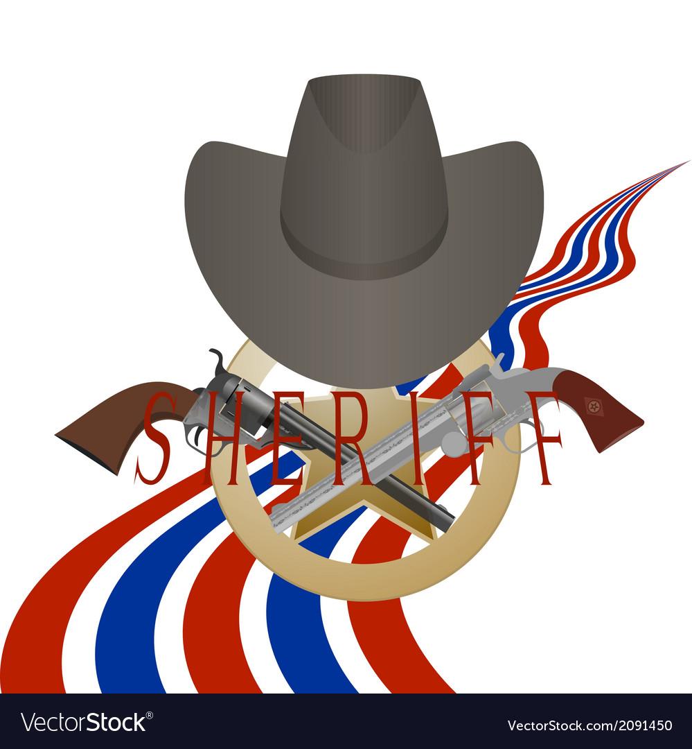 Sheriff badge and gun vector