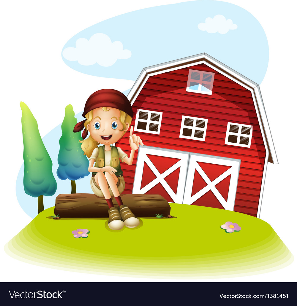 A girl sitting in front of a red barnhouse vector