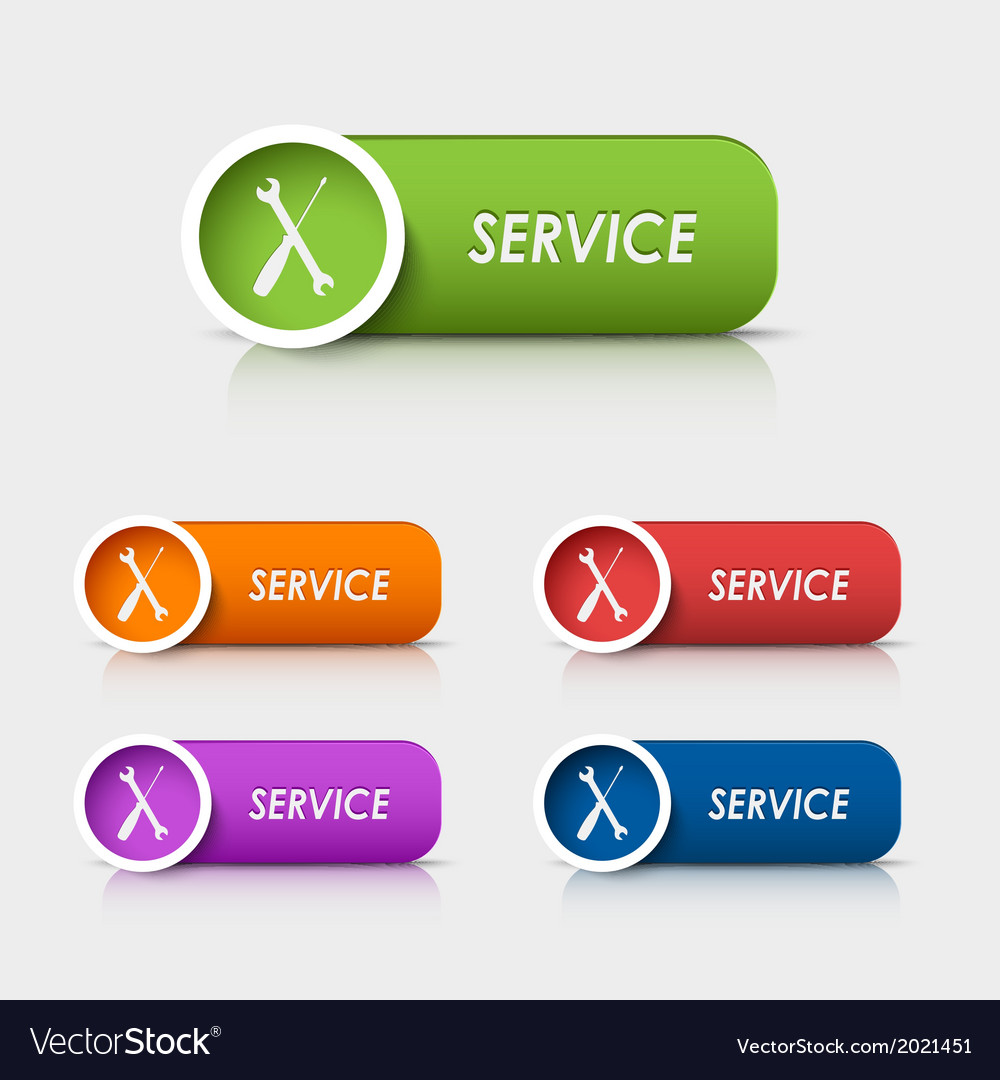Colored rectangular web buttons service vector