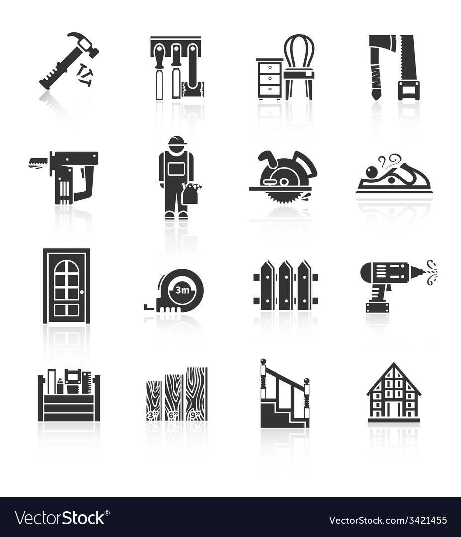 Carpentry icons black vector