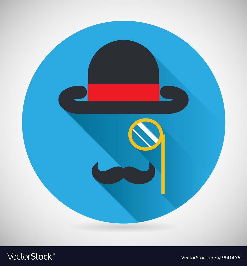 Gentleman accessories symbol bowler hat and vector