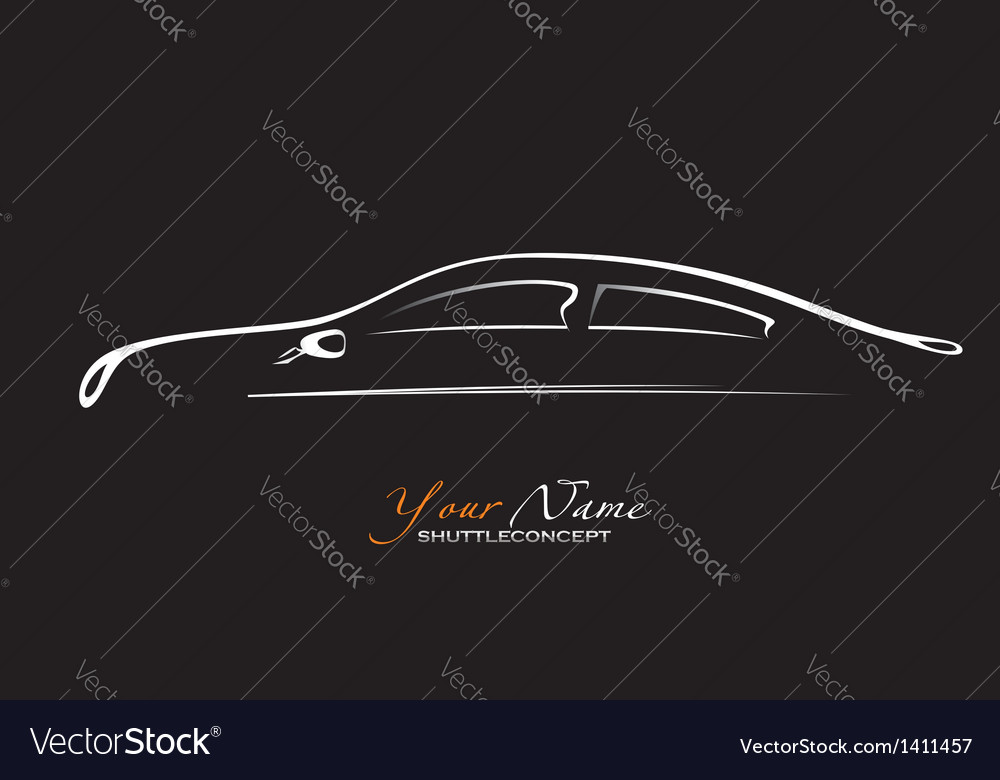Car silhouette of the old car on a black vector