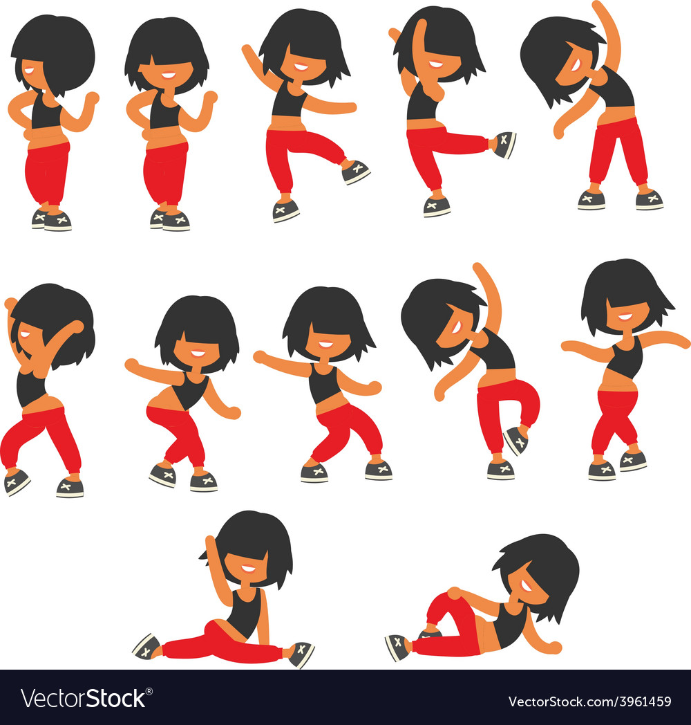Different poses sporty dancing girl vector