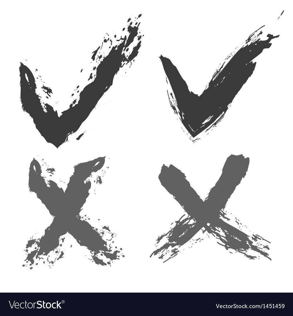 Grunge check marks vector