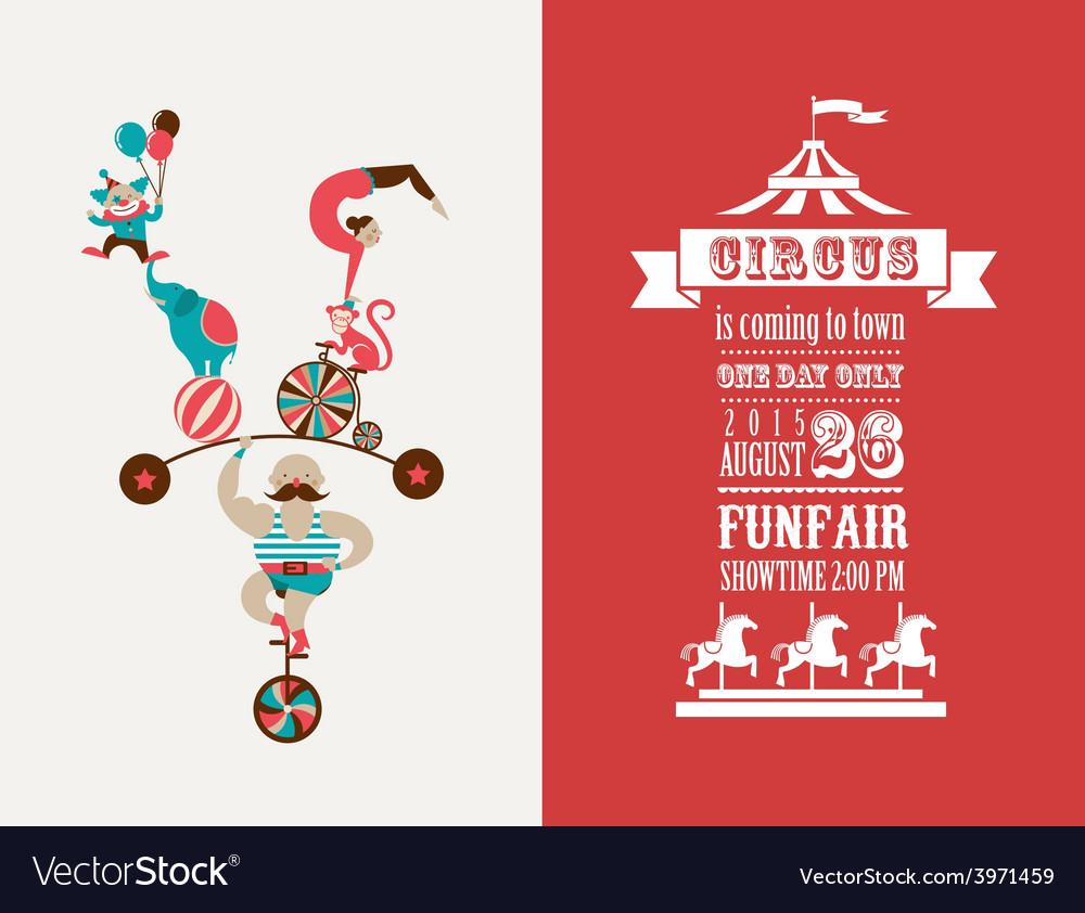 Vintage poster with carnival fun fair circus vector