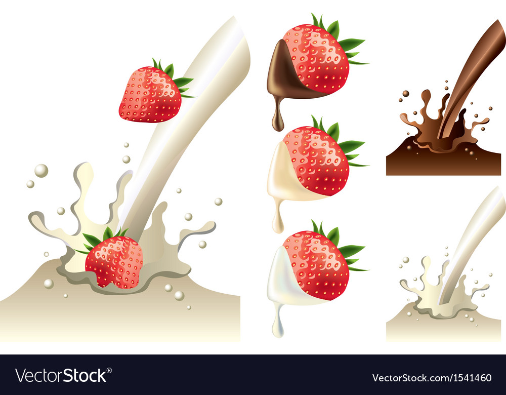 Strawberry milk set vector
