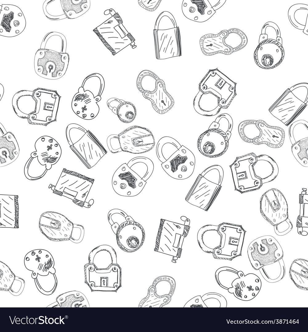 Hand drawn padlocks background seamless pattern vector
