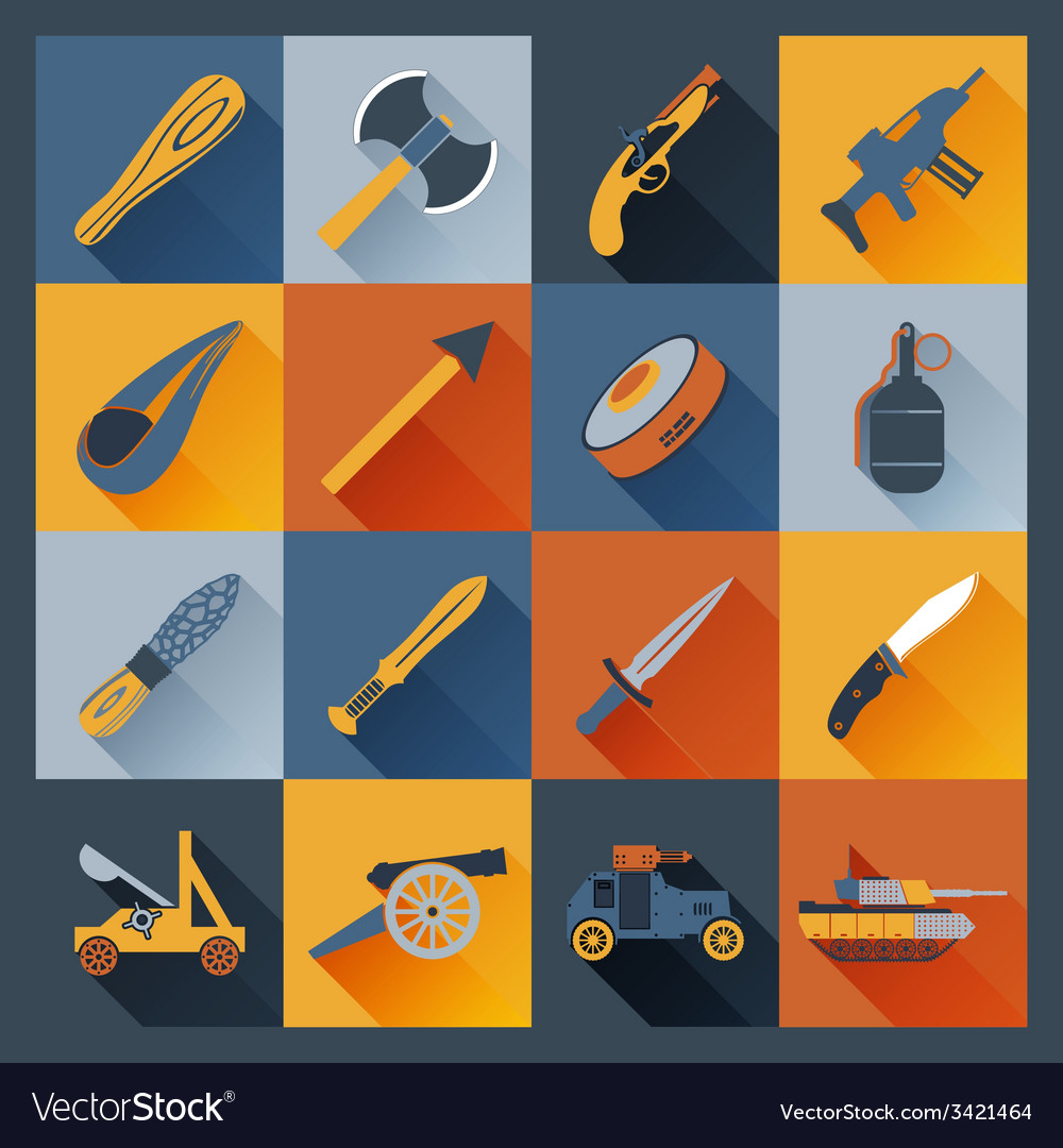 Weapon icons flat vector