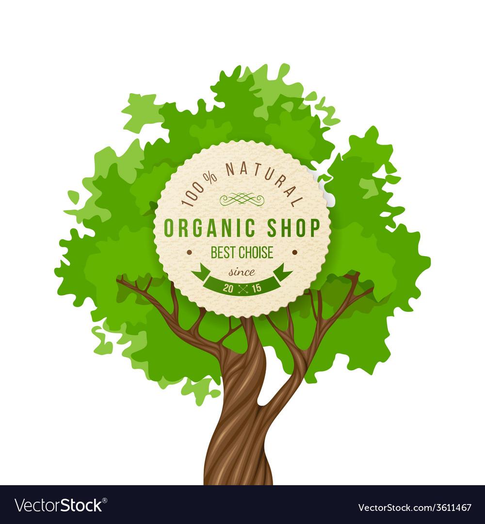 Organic shop emblem over green tree vector