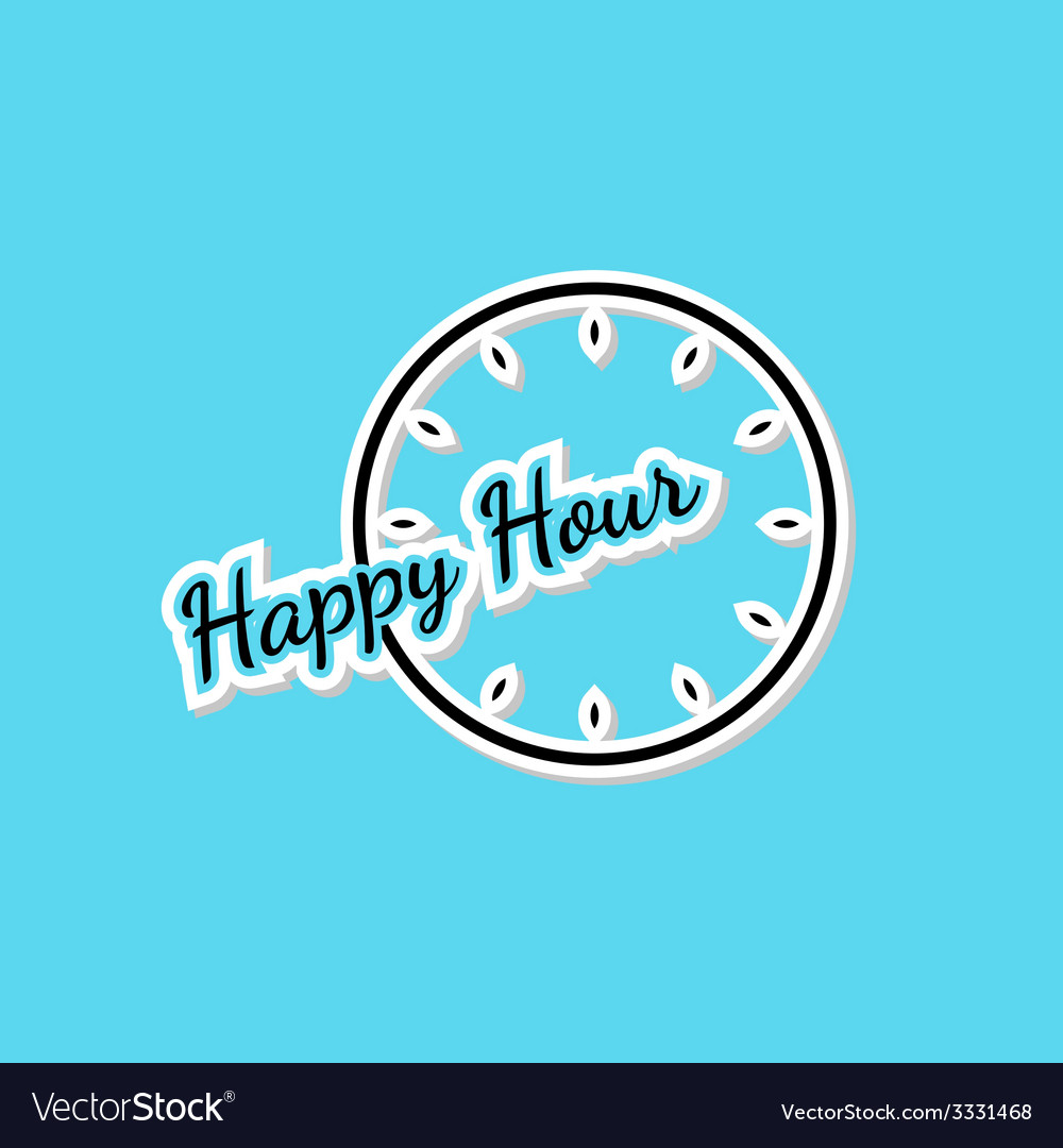 Blue happy hour background with clock vector