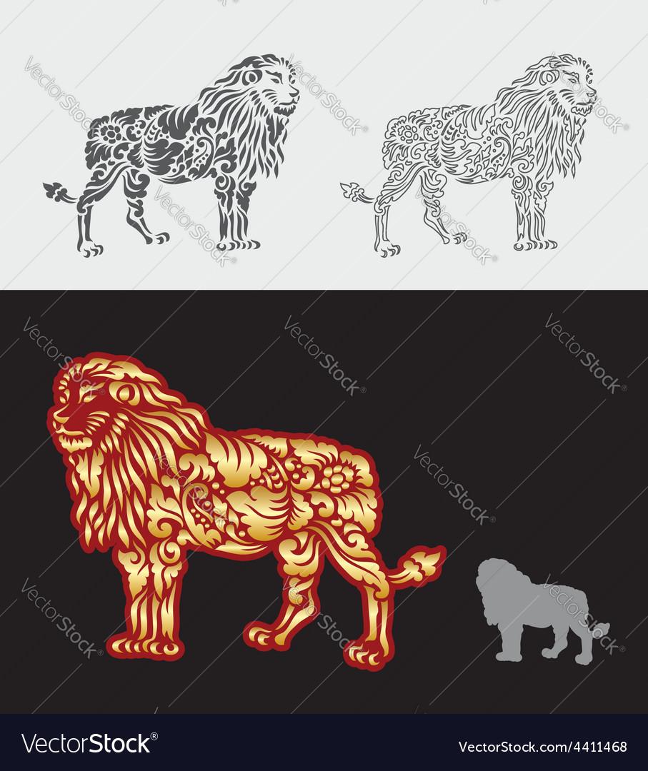 Lion floral ornament decoration vector