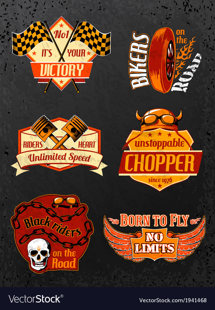 Motorcycle bike badges set vector
