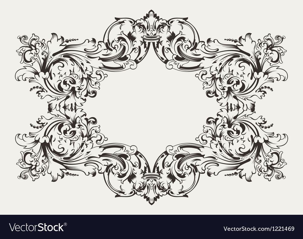 Old antique high ornate frame vector