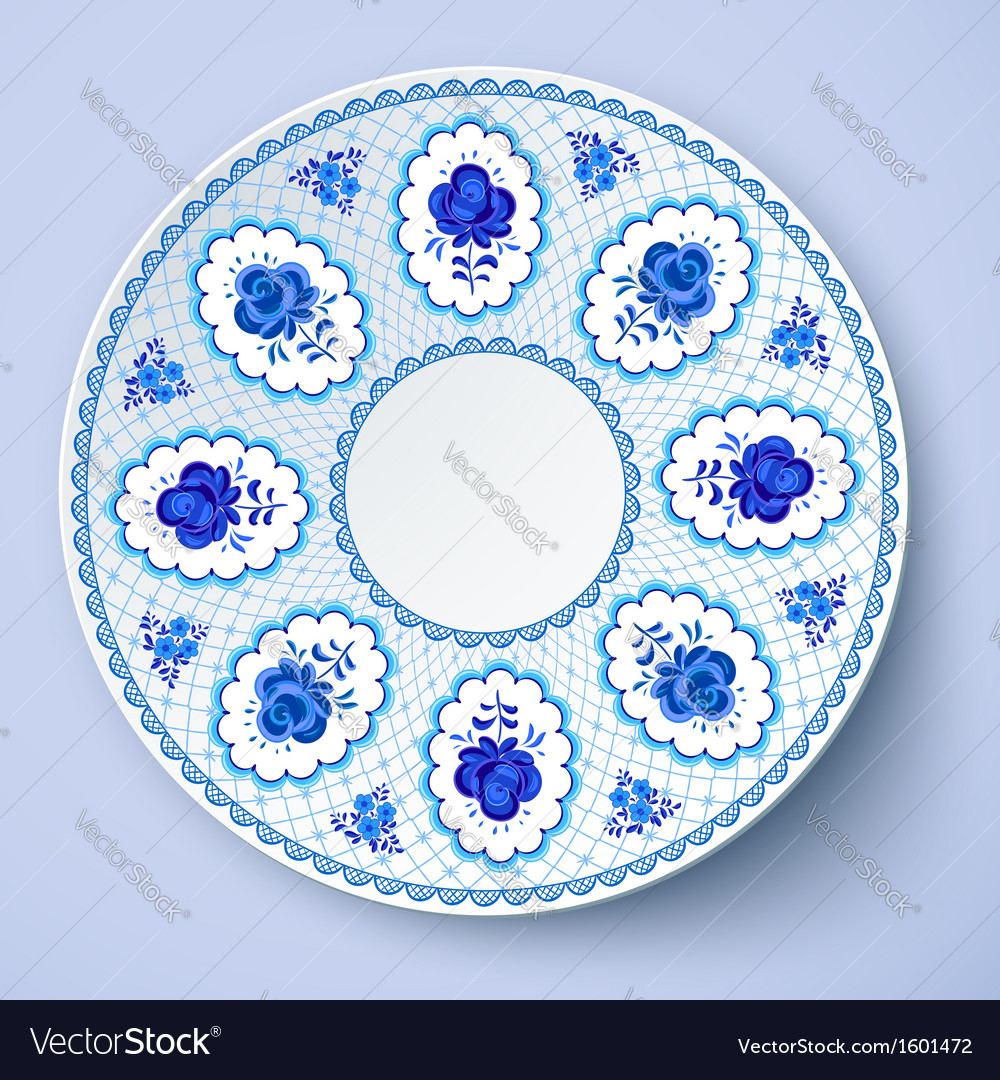 Blue ornamental plate in traditional style vector