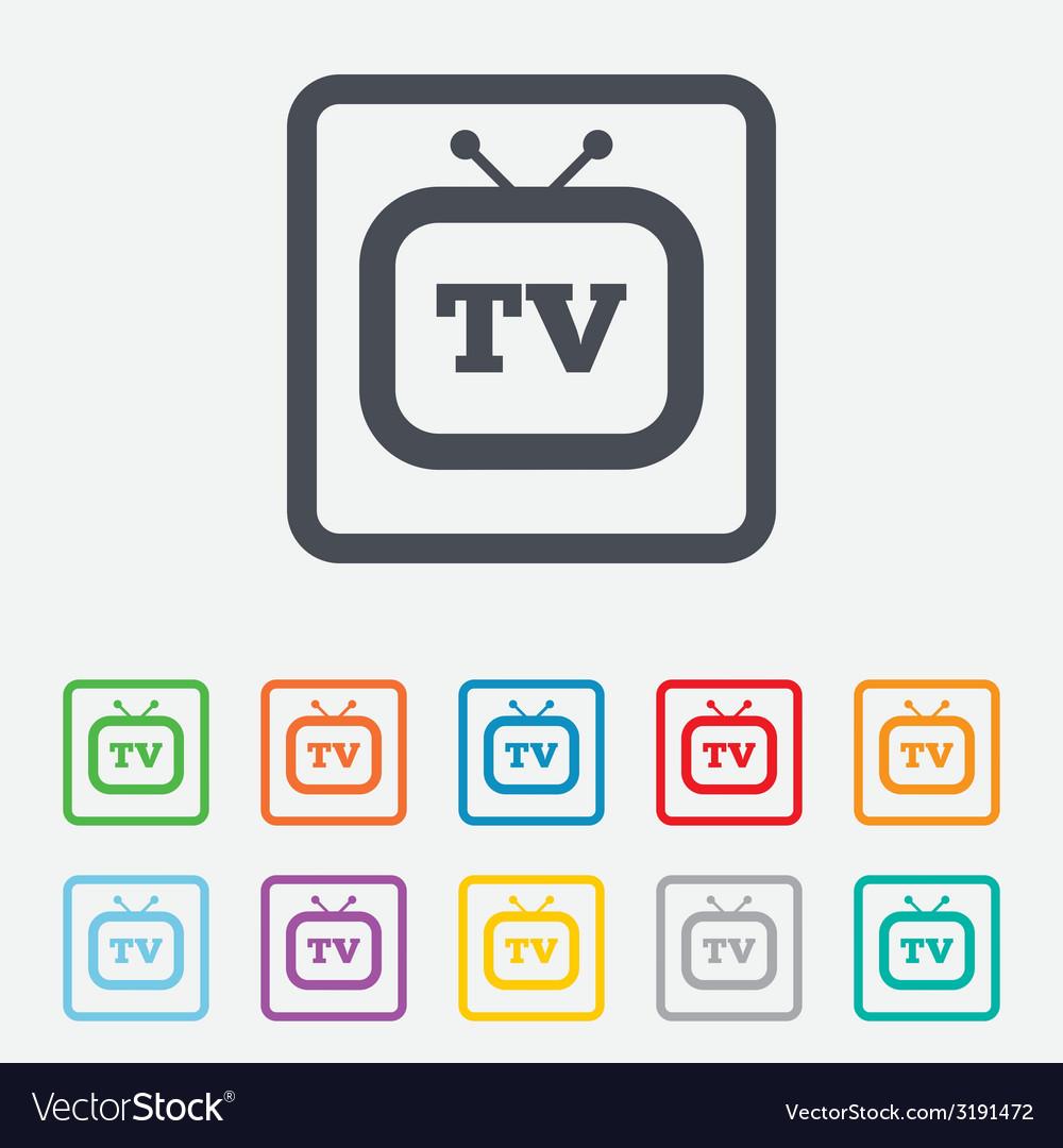 Retro tv sign icon television set symbol vector