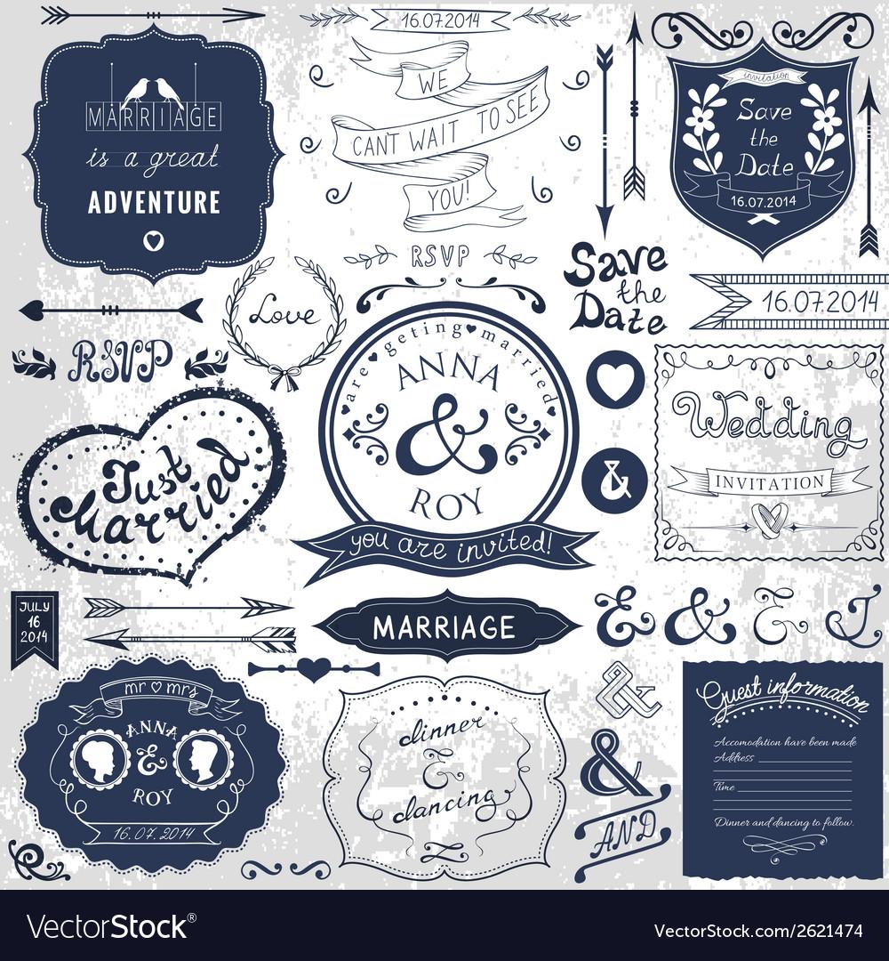 Retro hand drawn elements for wedding invitations vector