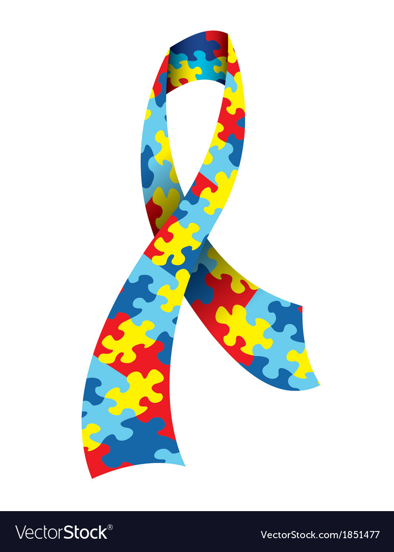Autism awareness ribbon vector