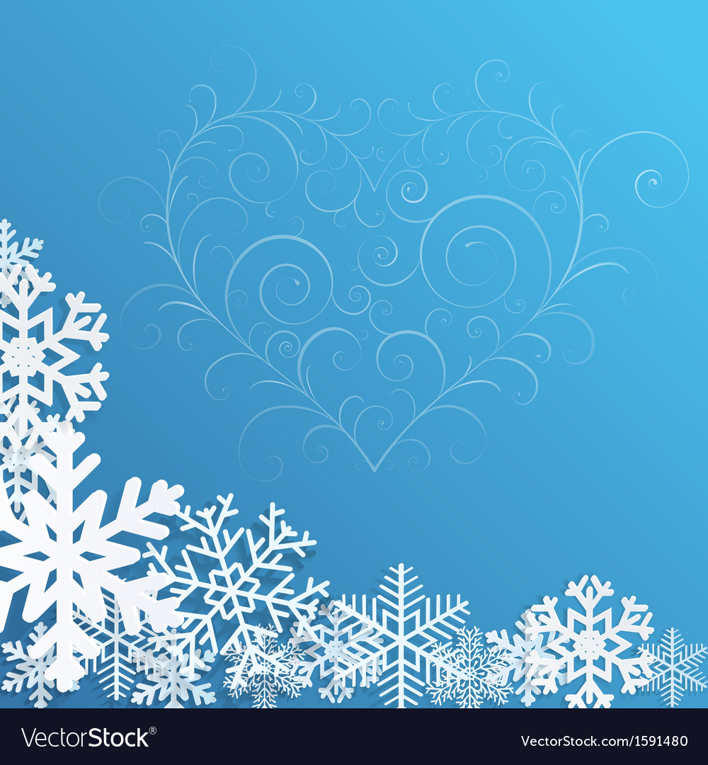 Christmas background with snowflakes and heart vector