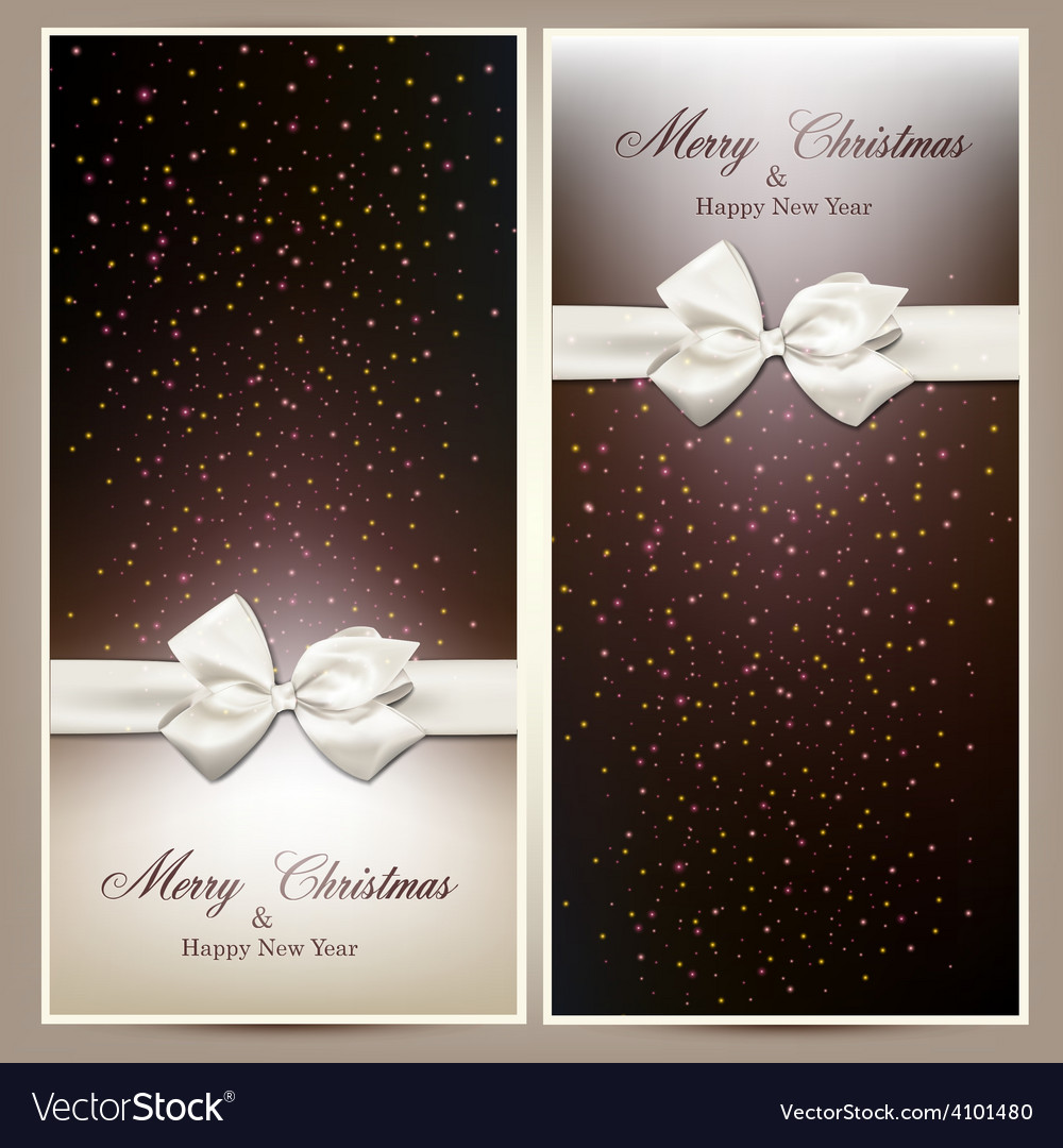 Gift cards with white bow vector