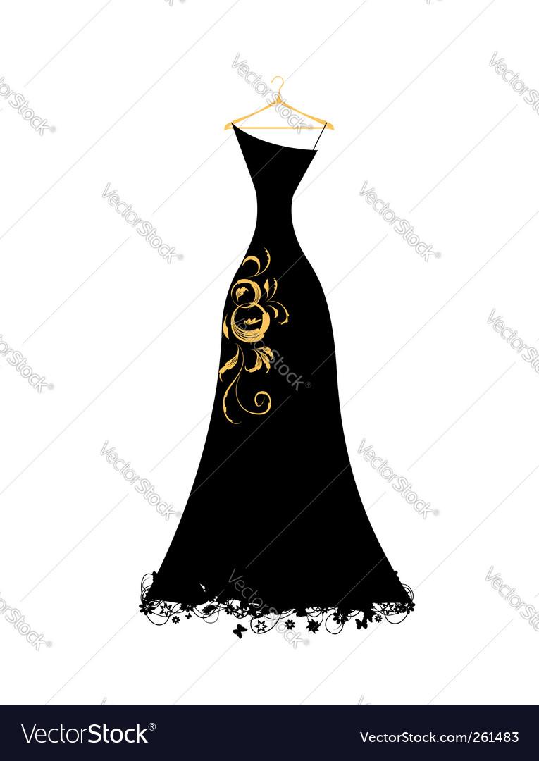 Evening dress black on hangers vector