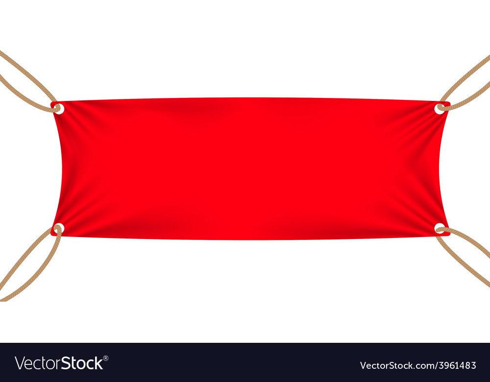 Textile banners with copy space suspended by ropes vector