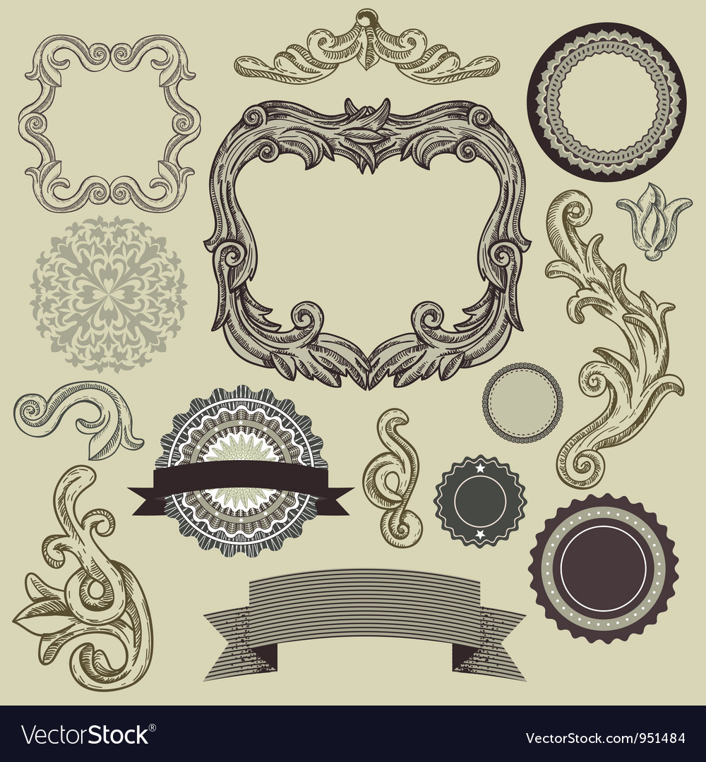 Collection of vintage design elements vector