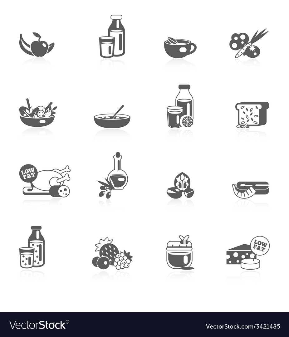Healthy eating black icons vector