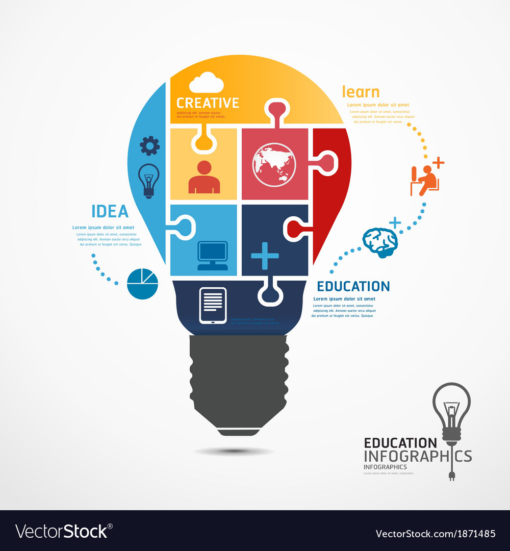 Infographic template with light bulbs jigsaw banne vector