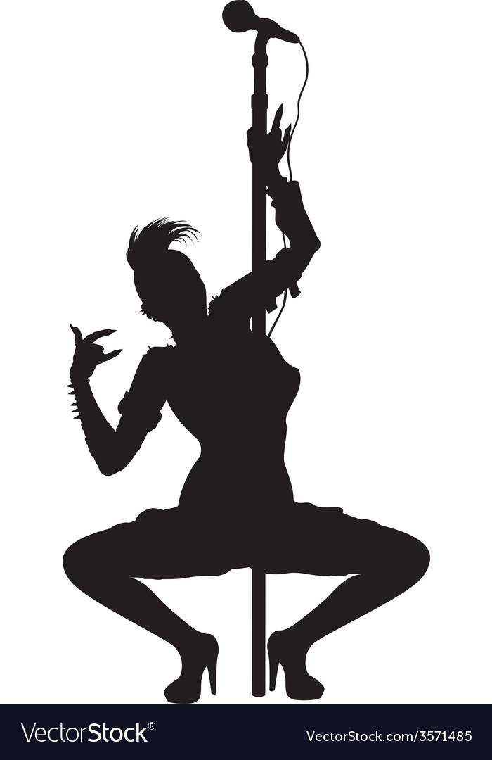 Punk musician girl striptease silhouette vector