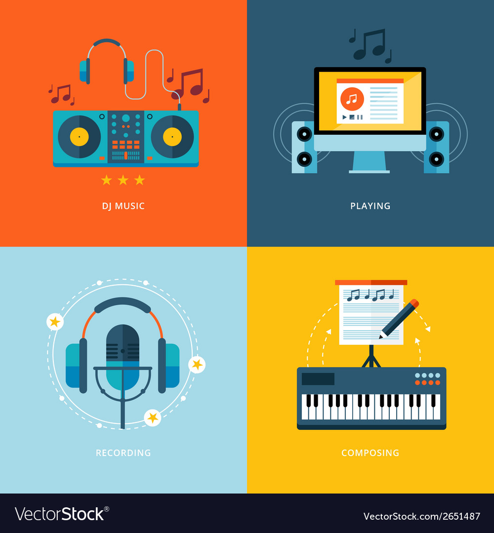 Set of flat design concept icons for music vector
