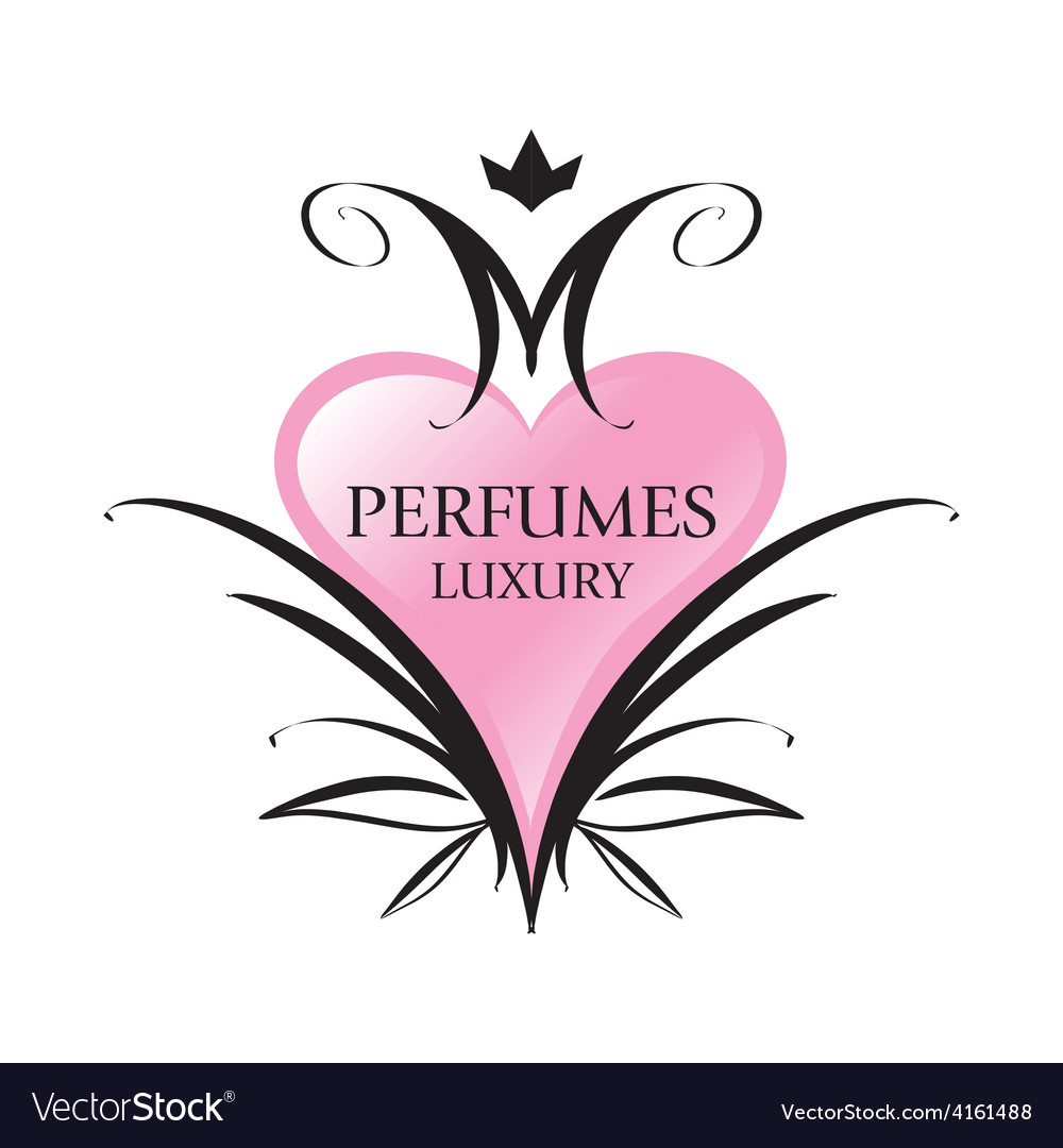Logo pink heart for perfumes vector