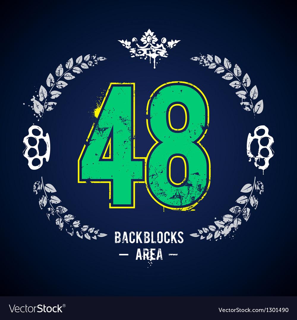 Grunge 48 number vector