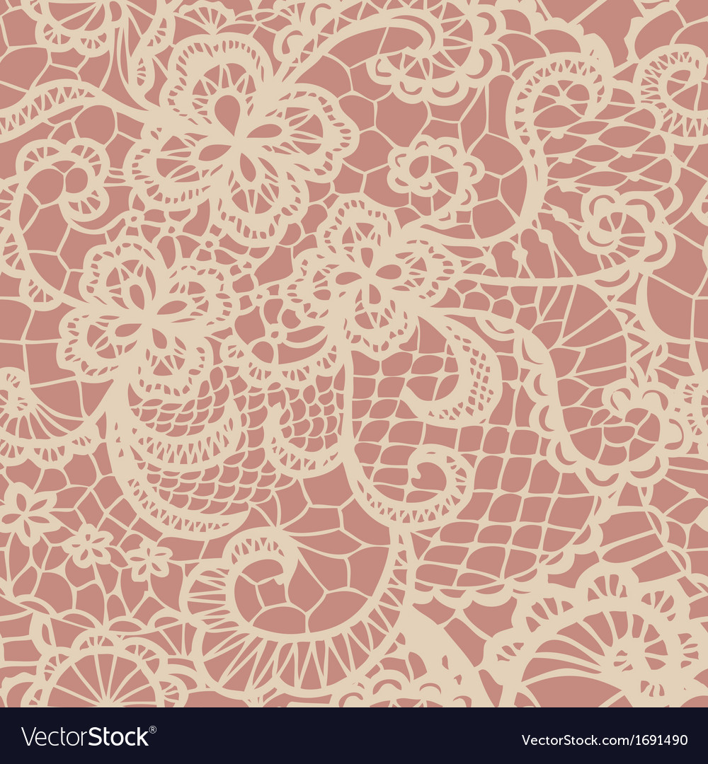 Lace seamless pattern with flowers vector