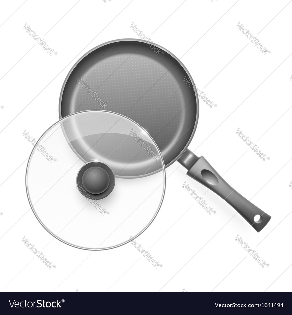 Frying pan with glass lid vector