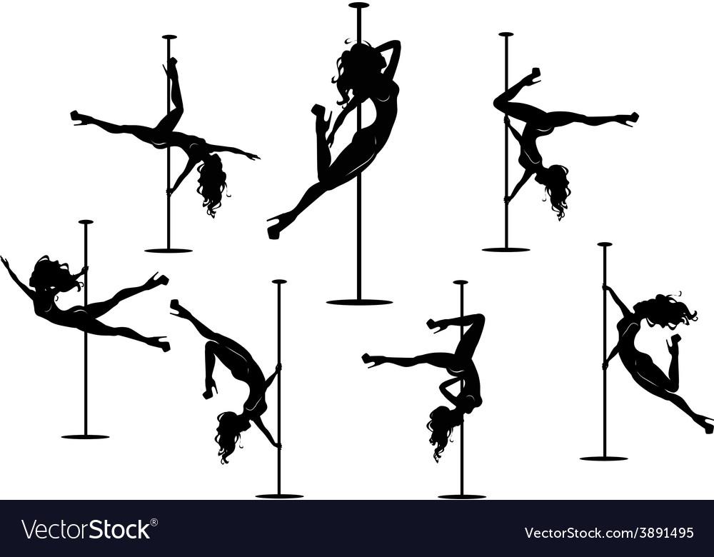 Seven pole dancers silhouettes vector