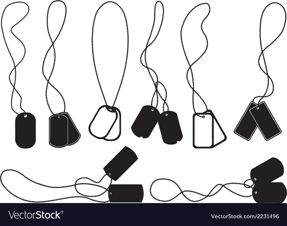 Set of different dog tags vector