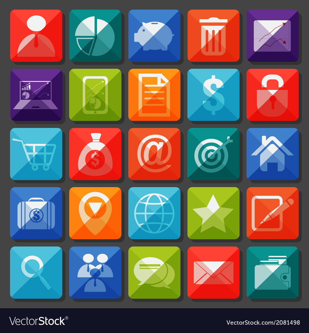 Flat icons collection for business item vector