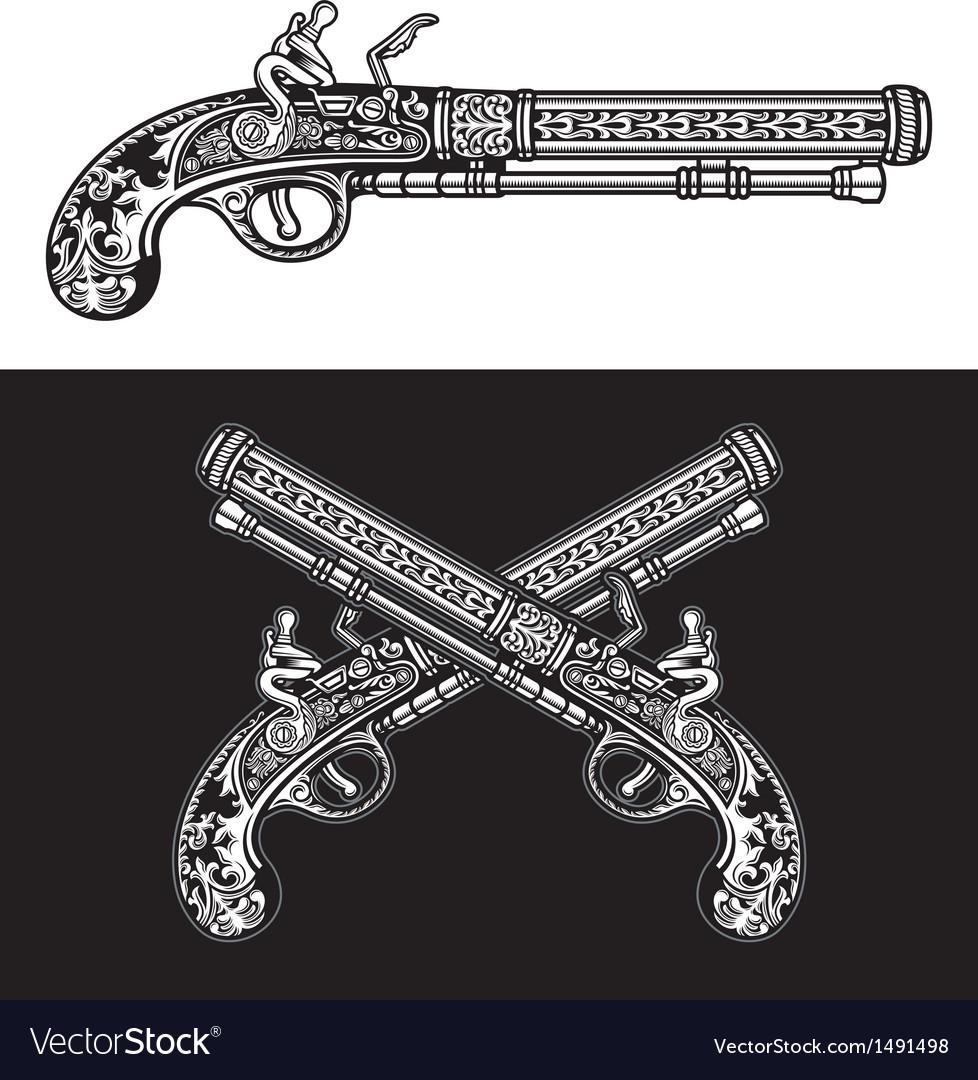 Flintlock antique pistol vector