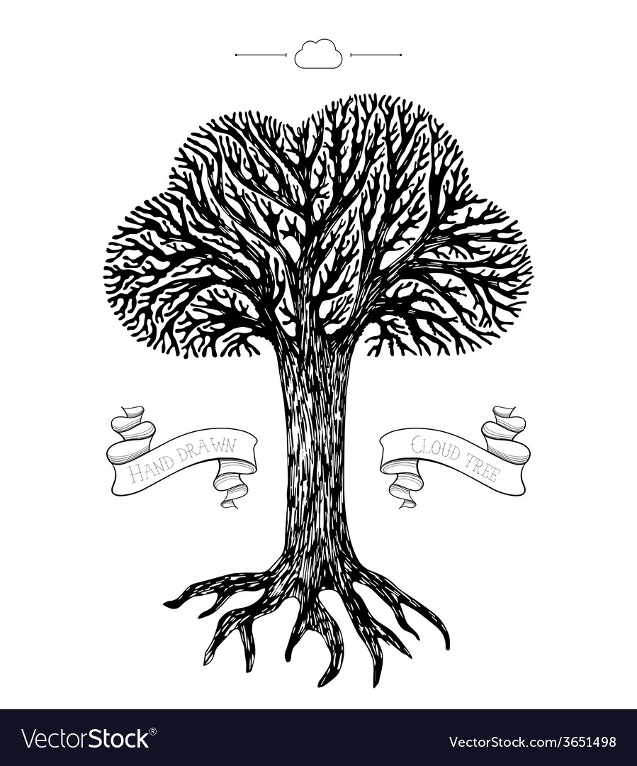 Tree crown in the shape of cloud vector