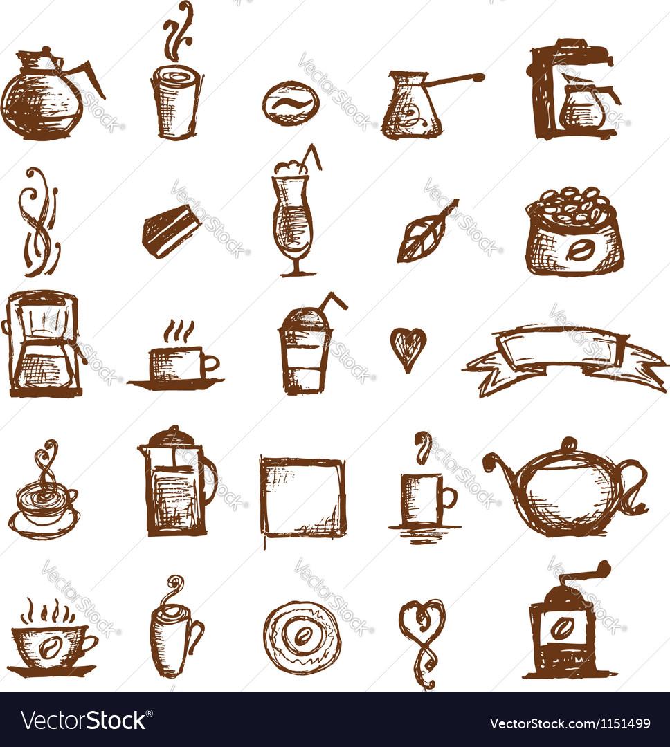 Coffee sketch design elements vector