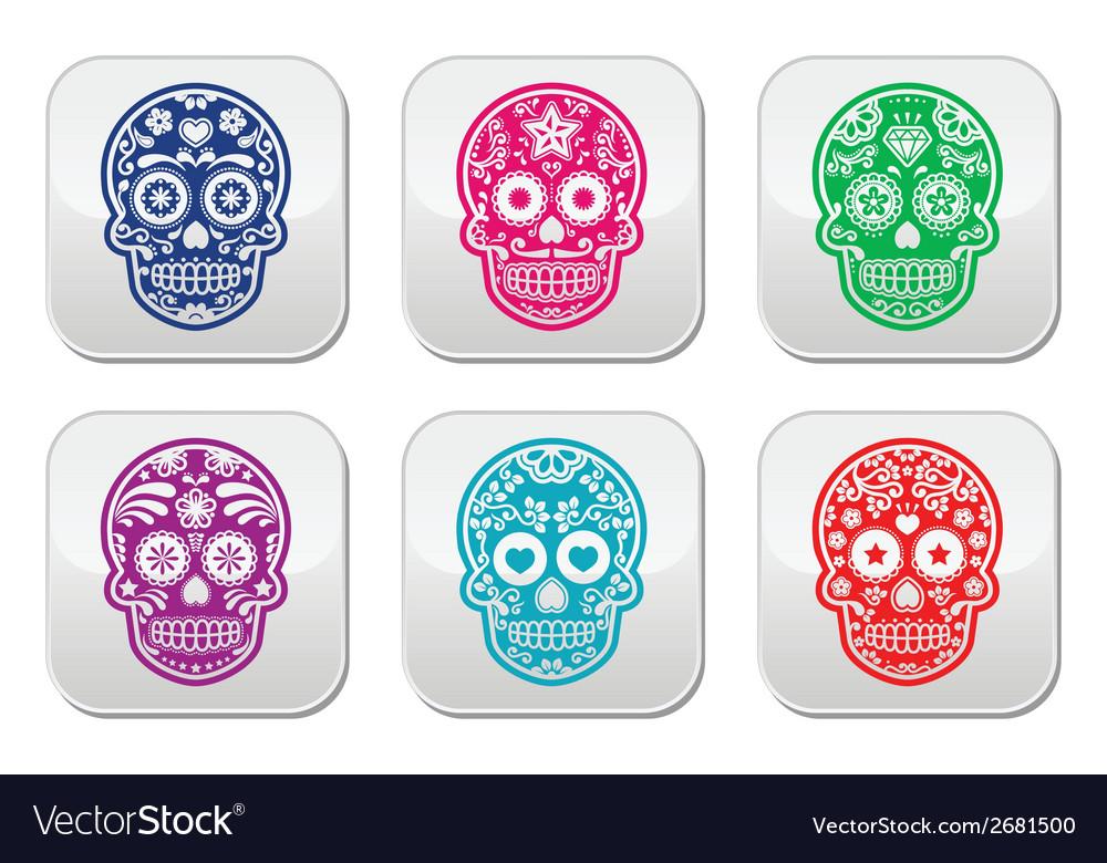 Mexican sugar skull dia de los muertos colorful b vector