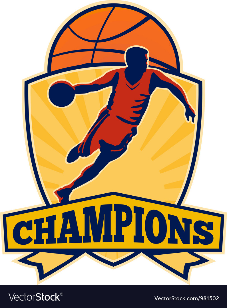Basketball player dribbling ball shield retro vector