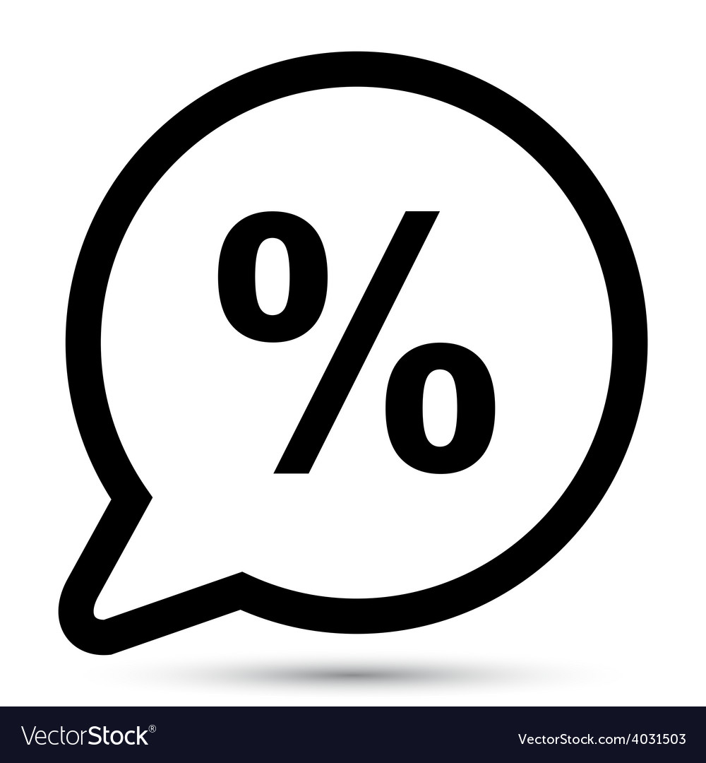 Bubble with percent icon vector