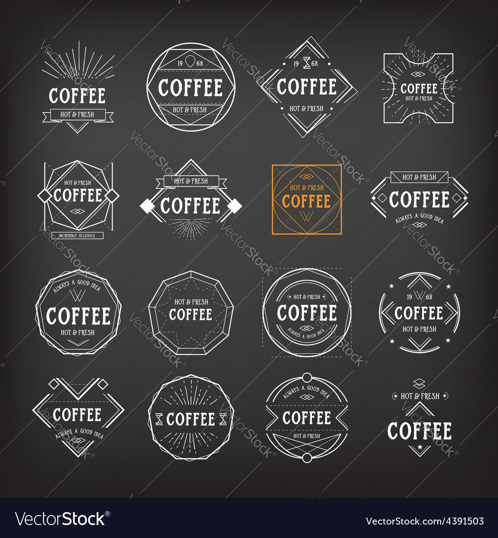 Coffee menu logo template vintage geometric badge vector
