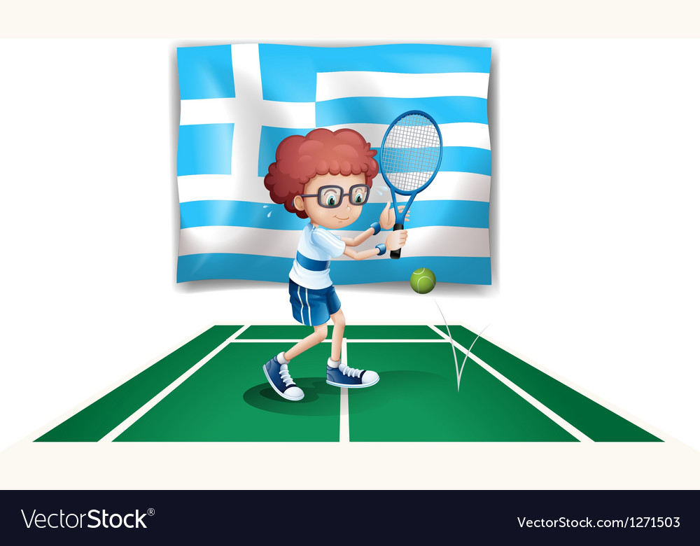 The flag of greece and the tennis player vector