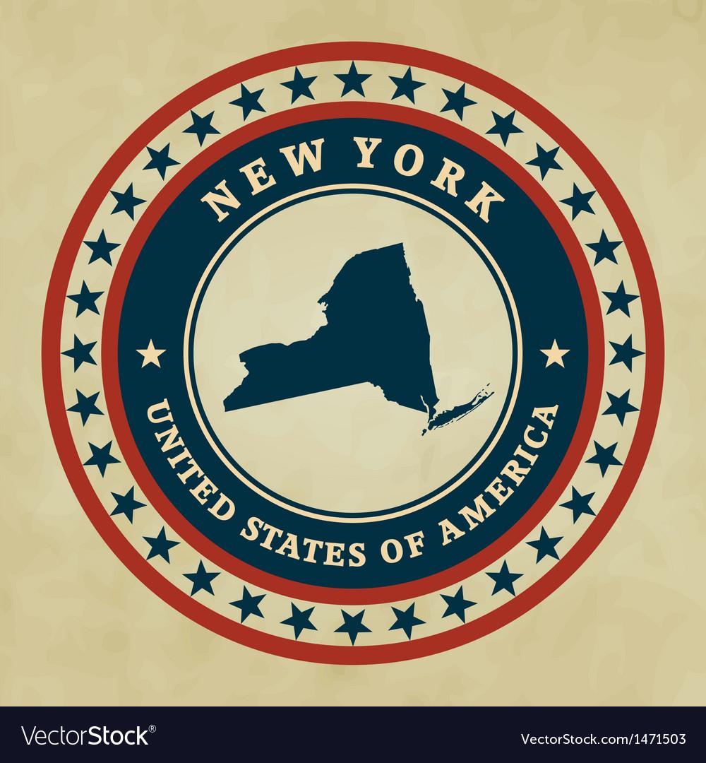 Vintage label new york vector