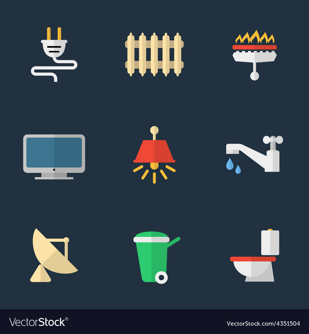 Electricity heating water and other utilities vector