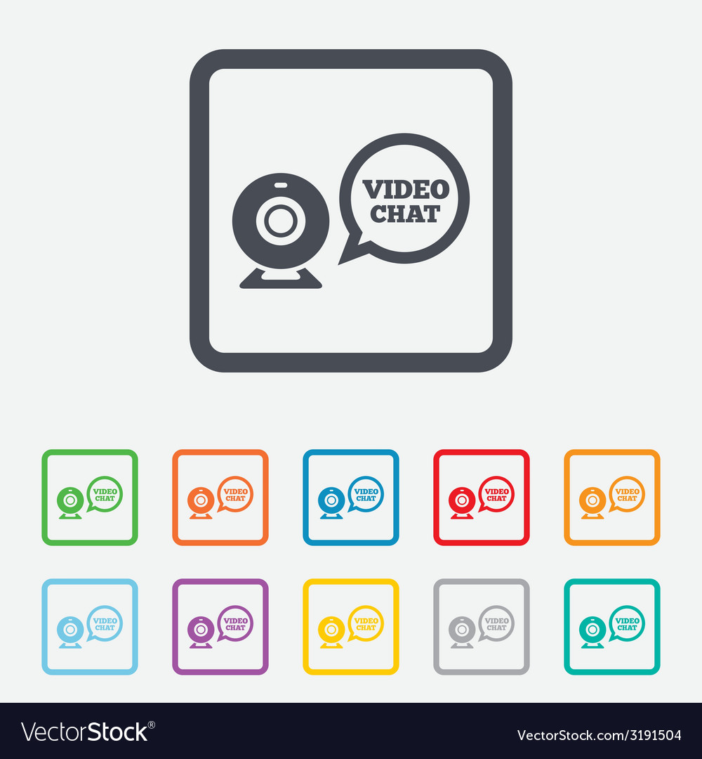 Video chat sign icon webcam video speech bubble vector